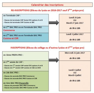 calendrier inscriptions
